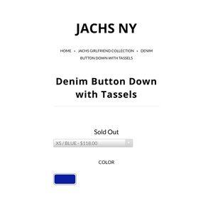 JACHS Girlfriend Tops - Jachs Girlfriend Denim Tassel Blouse M